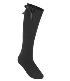 Long Black Bow Socks (Shoe Size 6-9)