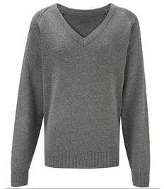 Grey V Neck Knitted Jumper (38