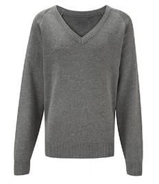 Grey V Neck Knitted Jumper (34