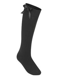 Long Black Bow Socks
